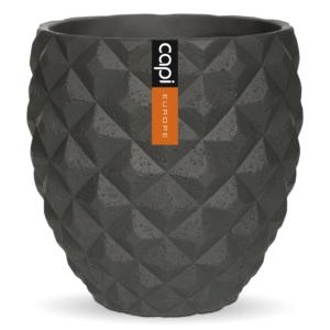 Capi Europe – Lux Elegant Round Vase – Dark Grey – 16cm